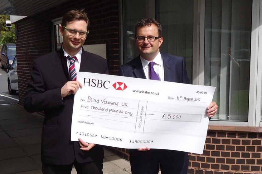 Cheque presentation to Blind Veterans UK