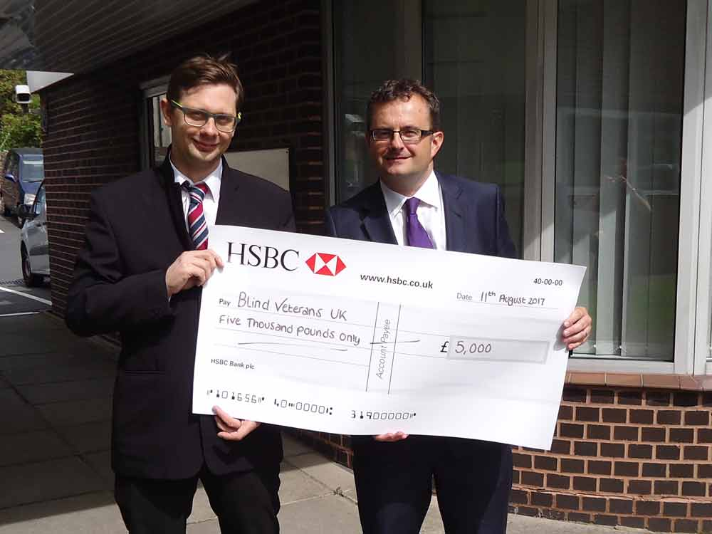 Cheque presentation to Blind Veterans UK